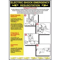 First aid wallchart for electric shock emergency resuscitation