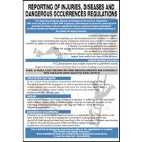 Reporting of Injuries and Dangerous Occurrences Rigid Plastic Wall Chart