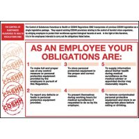 Rigid Plastic COSHH Employee Obligations Poster