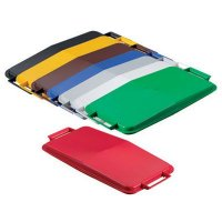 Assorted coloured recycling bin lids