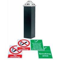 Smoking Area Starter Kit with Cigarette Bin and Smoking / No Smoking Signs