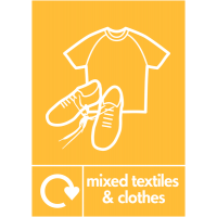 'Mixed Textiles and Clothes' Colour-Coded Indoor and Outdoor Recycling Sign