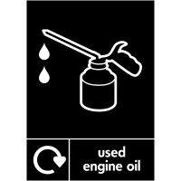 Colour-Coded Used Engine Oil Recycling Sign in Choice of Materials
