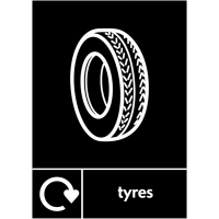 WRAP Automotive 'Tyres' Waste Recycling Sign with Logo