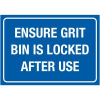 Authoritative grit bin locking winter signs