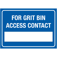 For Grit Bin Access Contact' Write-On Winter Equipment Signs