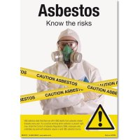 Safety information poster regarding asbestos risk management