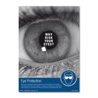 Why risk your eyes?' safety advisory posters