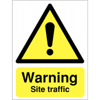 """Reflective Road Signs Displaying """"Warning Site Traffic"""" Message"""