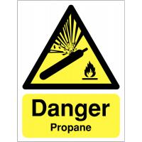 Hazard signs stating danger propane