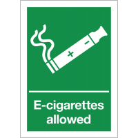 Weather resistant 'e-cigarettes allowed' smoking signs