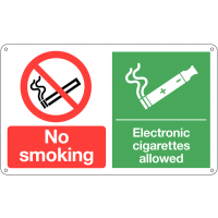 No Smoking' and 'Electronic Cigarettes Allowed' Dual-Message Sign