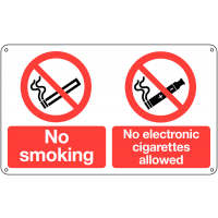 No Smoking' and 'No Electronic Cigarettes' Dual-Message Sign