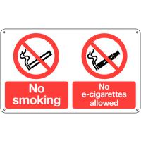Dual No Smoking and No E-Cigarettes Allowed Sign