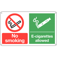 No Smoking' and 'E-Cigarettes Allowed' Dual-Message Sign