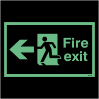 Anti-Slip Photoluminescent Fire Exit Signs with Left Arrow