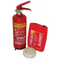 Fire Safety Bundle with Extinguisher, Blanket and Heat Detector