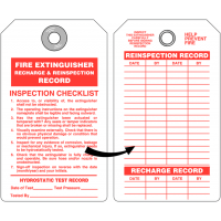 Fire Extinguisher Recharge & Reinspection Record Tag