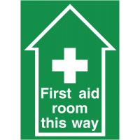 Highly visible anti-slip 'First aid room this way' floor signs