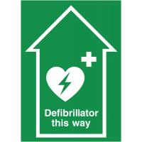 Eye-catching defibrillator anti-slip floor sign