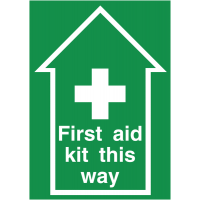 Arrowed Non-Slip 'First Aid Kit This Way' Sign