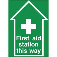 Anti-slip first aid station locator floor signs