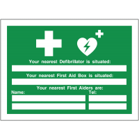 """""""Your Nearest Defibrillator is situated"""" AED & First Aid Update Sign"""
