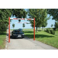 Adjustable vehicle height restrictors with reflective strips