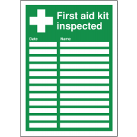 Self-adhesive, wipe-to-change 'first aid kit inspected' sign