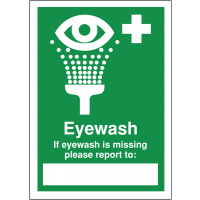 Self-adhesive 'if eyewash is missing' first aid write-on report sign