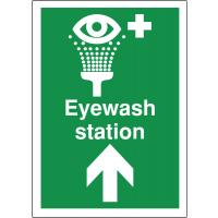 Directional 'eyewash station' first aid sign featuring upwards facing arrow