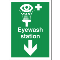 Easy to install directional first aid eyewash sign (down)