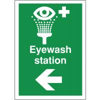 'Eyewash Station Arrow Left' directional first aid signs