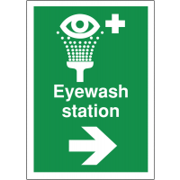 Highly visible directional first aid signs for eyewash station and arrow right