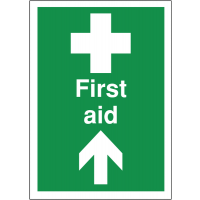 Self-adhesive directional first aid sign