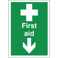 Highly Visible Directional 'First Aid' Signs With Arrow Down