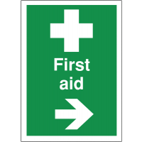 Easy-to-read directional 'First aid' signs with arrow pointing right