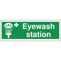 Laminated anti-slip eyewash station floor signs