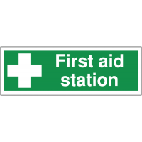 Highly visible anti-slip floor markers for 'First aid station'