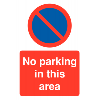 Restricted access 'no parking in this area' with no waiting symbol parking signs