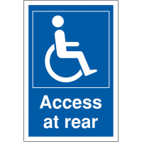 Disabled Access at Rear' Sign in Choice of Materials