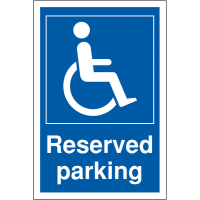 Signage for reserved disabled parking areas