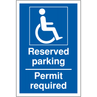 Reserved Parking - Permit Required' Notification Signs for Disabled Bays