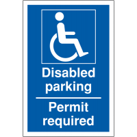 Disabled Parking – Permit Required' Weather-Resistant Sign