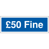 Disabled Parking '£50 Fine' Warning Signs