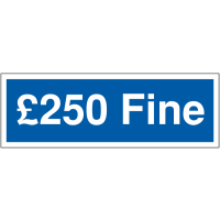 Authoritative '£250 fine' disabled parking signs