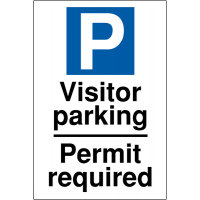 Clear Parking Permit Required Visitor Parking Sign