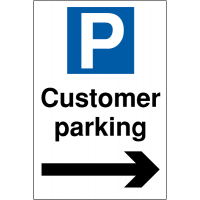 Weather-resistant Customer Parking sign with right arrow