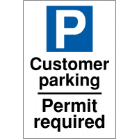 Customer parking permit required car park signs
