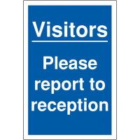 Weather-Resistant 'Visitor Please Report to Reception' Parking Sign